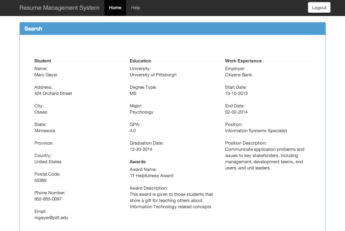 Resume and Portfolio Management System