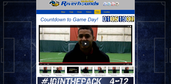 Marketing website for the Pittsburgh Riverhounds