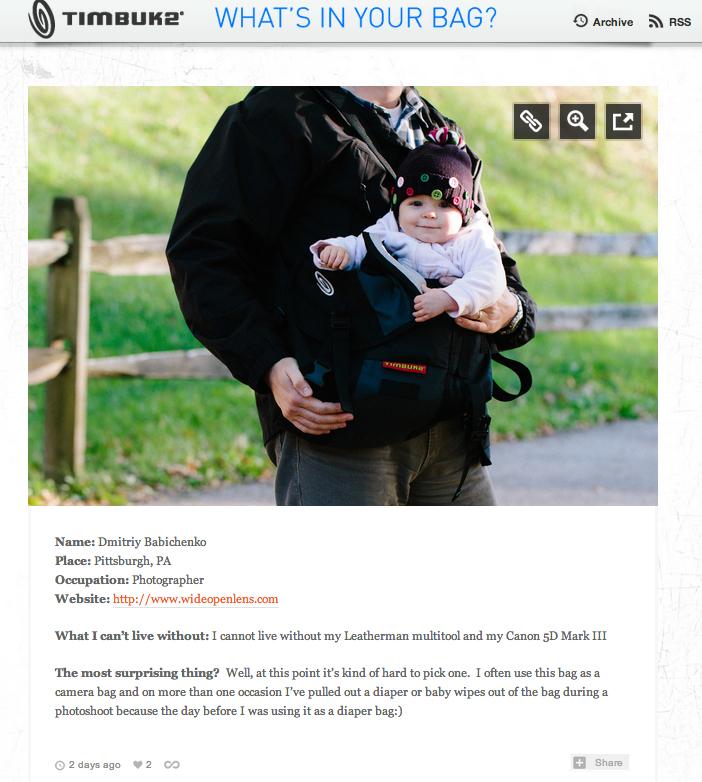 Timbuk2 - What's In Your Bag | Dmitriy Babichenko, Pittsburgh Photographer
