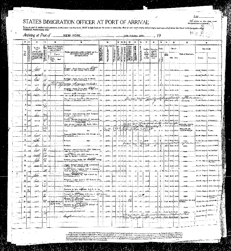 Ship Passenger Manifest Berengaria, 1923